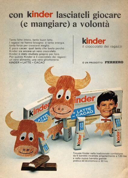 ferrero kinder cioccolato anni 60